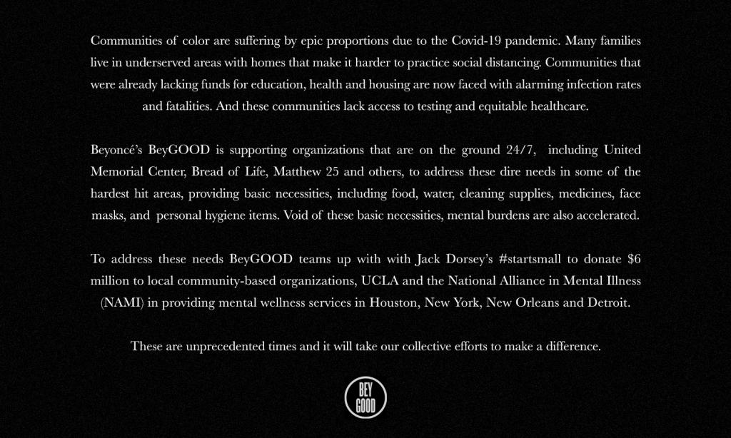 Beyoncé donó US$ 6 millones para asistencia sanitaria