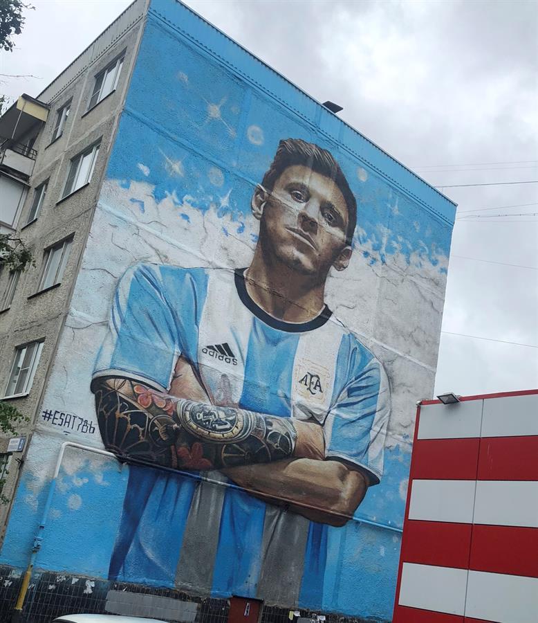 Grafiti del delantero de la selección argentina Lionel Messi
