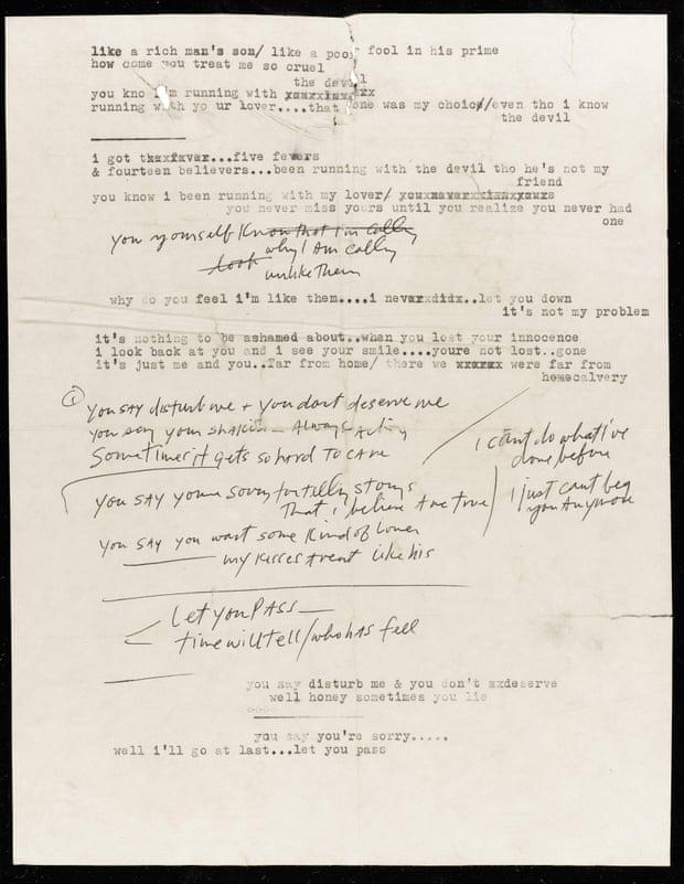 Raro manuscrito de Bob Dylan es subastado