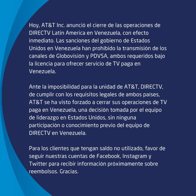 Así comunicó DirecTV el cese de operaciones en Venezuela
