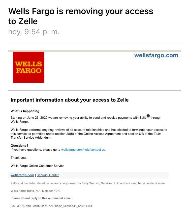 Wells Fargo suspenderá servicio de Zelle a personas residenciadas en Venezuela