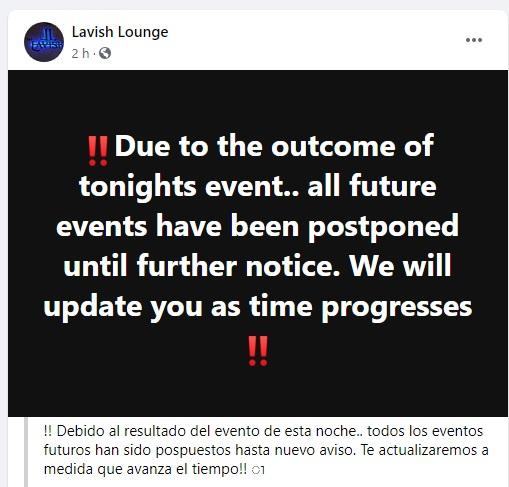 El Lavish Lounge anunció la suspensión de todos sus eventos