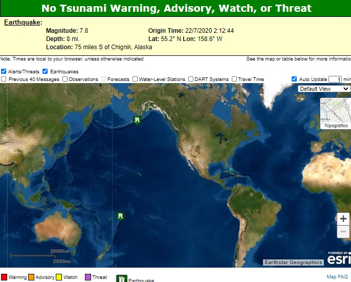 La alerta de tsunami realizada en un primer momento fue retirada