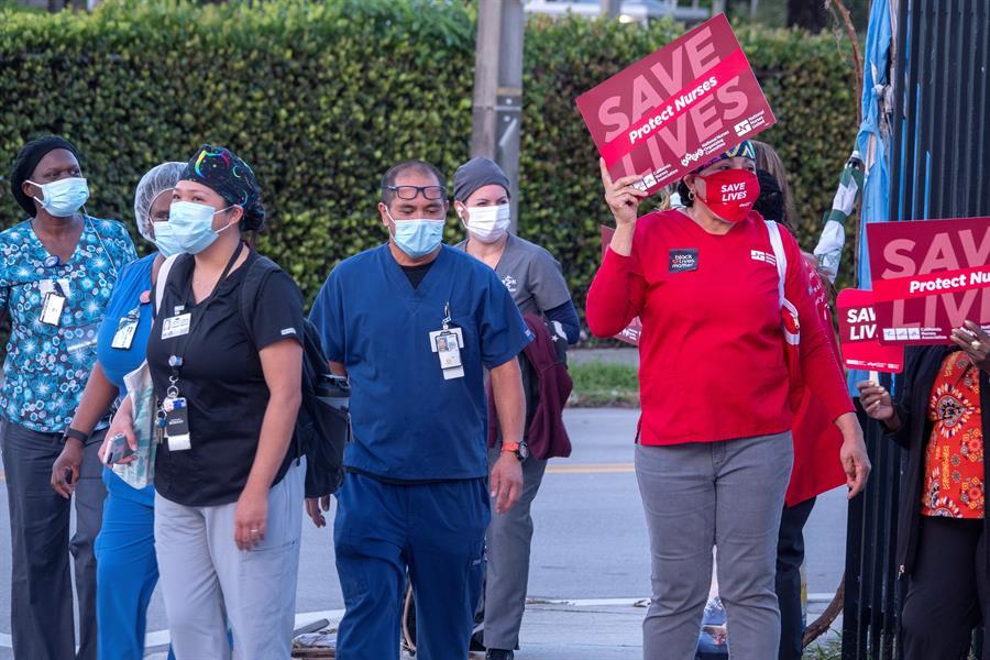 Protección contra COVID-19 y justicia social: el reclamo de enfermeras en Miami