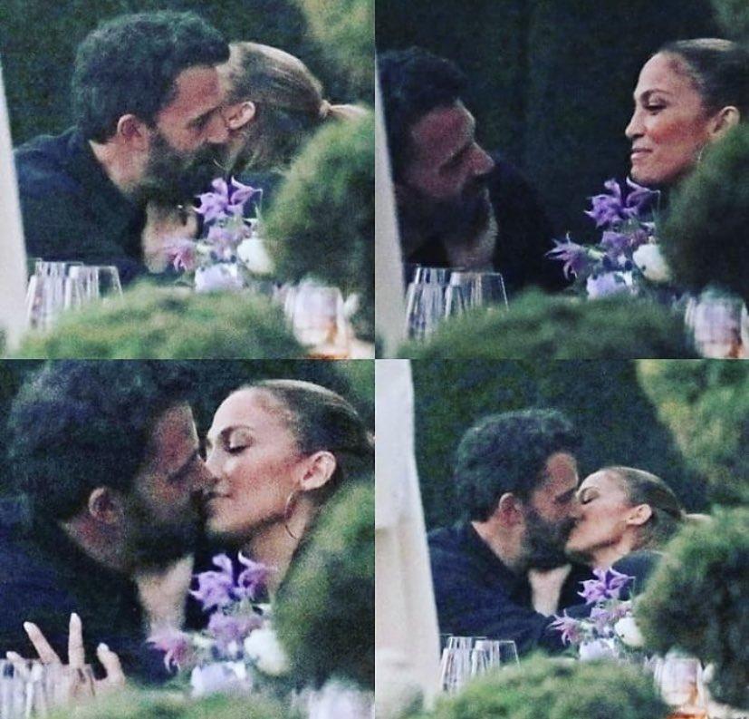 Jennifer López y Ben Affleck se tomaron de las manos debajo de una mesa y se besaron